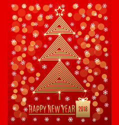 Christmas tree with new year greeting vector