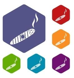 Cigar icons set vector