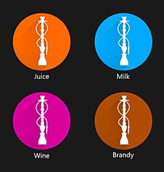 Colored icons for hookah vector image