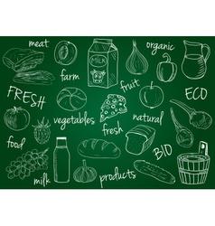 Farm products doodles school board vector
