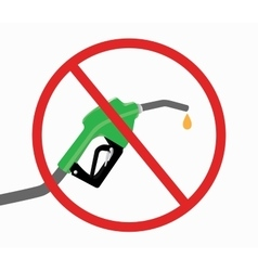 fuel pump with ban or stop icon and drop gasoline vector image vector image