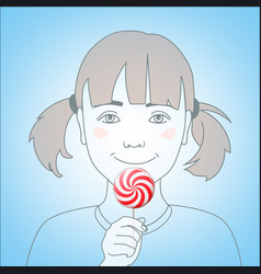 Girl with lollipop vector