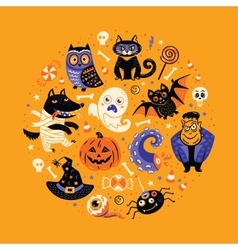Halloween poster design set in the circle vector
