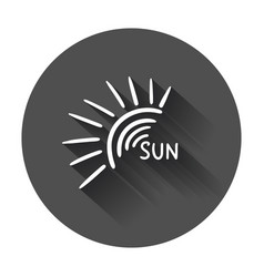 Hand drawn sun icon with long shadow vector