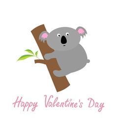 Happy Valentines Day Love card Cute koala Baby vector image