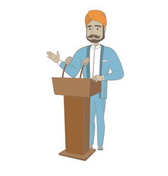 Hindu politician giving a speech from the tribune vector