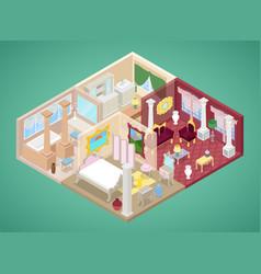 Isometric apartment interior in classic style vector