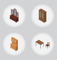Isometric furnishing set of cupboard drawer vector