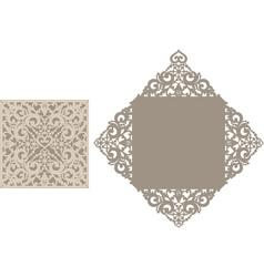 Laser cut envelope template for invitation vector image
