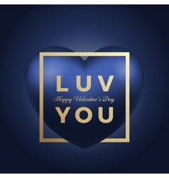 Love You Heart on Blue Background Golden vector image