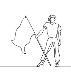 Man holding flag continuous line drawing vector