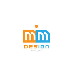 Mm m m orange blue alphabet letter logo vector