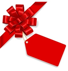Red bow with tag vector image vector image