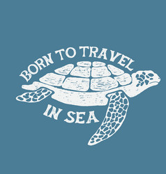 sea turtle vintage label vector image vector image