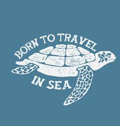 Sea turtle vintage label vector