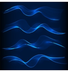 Set of blue smoke wave in dark background vector