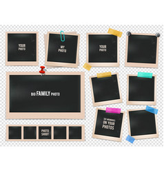 set of retro photo frames pictures vector image vector image