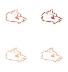 Set of stickers canadian map on white background vector