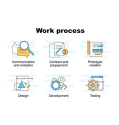 set of work process vector image vector image