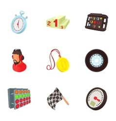 Speed race icons set cartoon style vector