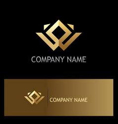 Square gold geometry company logo vector