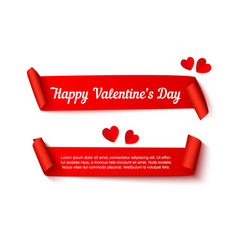 Valentines day paper curl ribbon vector