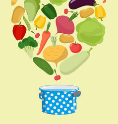 vegetables in saucepan boil vegetable soup vector image