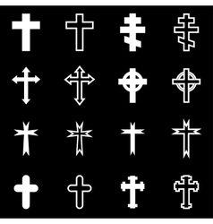 White crosses icon set vector