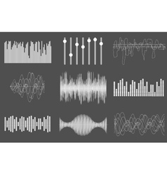 White sound music waves audio technology visual vector