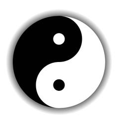 Yin Yang symbol icon in black and white vector image