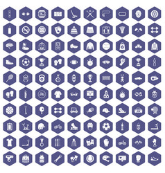 100 sport accessories icons hexagon purple vector