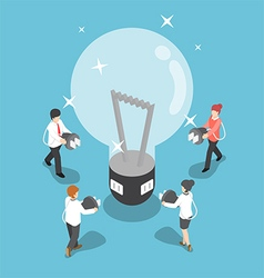 Isometric business people going to recharge idea vector
