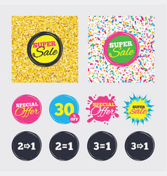 Special offer icons take two pay for one sign vector