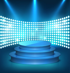 Illuminated festive shiny blue stage podium with vector