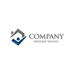 Simple concept house icon right tick symbol vector