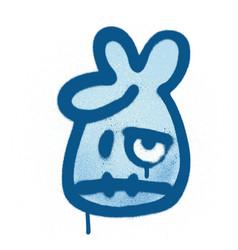 Graffiti unhappy emoticon sprayed in blue on white vector