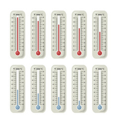 Thermometers with different temperature on them vector