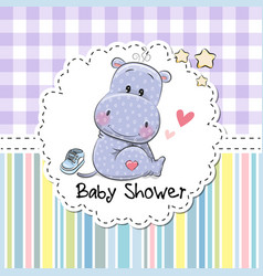 Baby shower greeting card with hippo vector