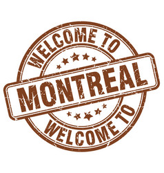 Welcome to montreal brown round vintage stamp vector