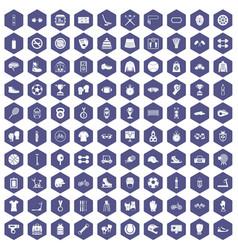 100 sport accessories icons hexagon purple vector