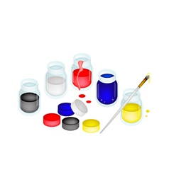 Open color paint jars with artist brushes vector