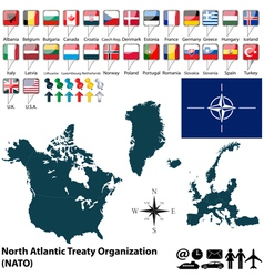 NATO map with flags vector image