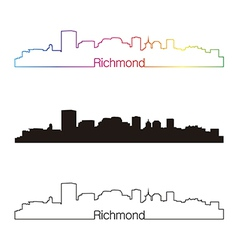 Richmond skyline linear style with rainbow vector