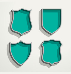 3d retro style four badges set vector