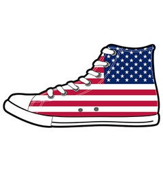 Modern sport shoes with usa flag vector