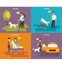 Family with pet concept flat icons set vector image