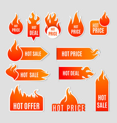 Fire sale flat icon set vector