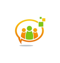 Talk people group communication tech logo vector