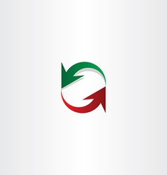 Red green arrow recycle symbol element vector