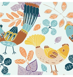 birds and leaves background vector image
